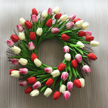 1pc New Design High Quality Artificial PU Tulip Floral Flower Twig Wreath for Wedding Door Wreath Party Decoration