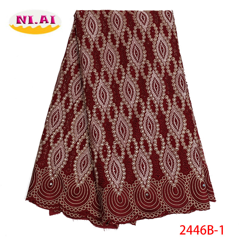 Latest Wine African Cotton Swiss Voile Lace Fabric 2019 High Quality Swiss Voile Lace In Switzerland