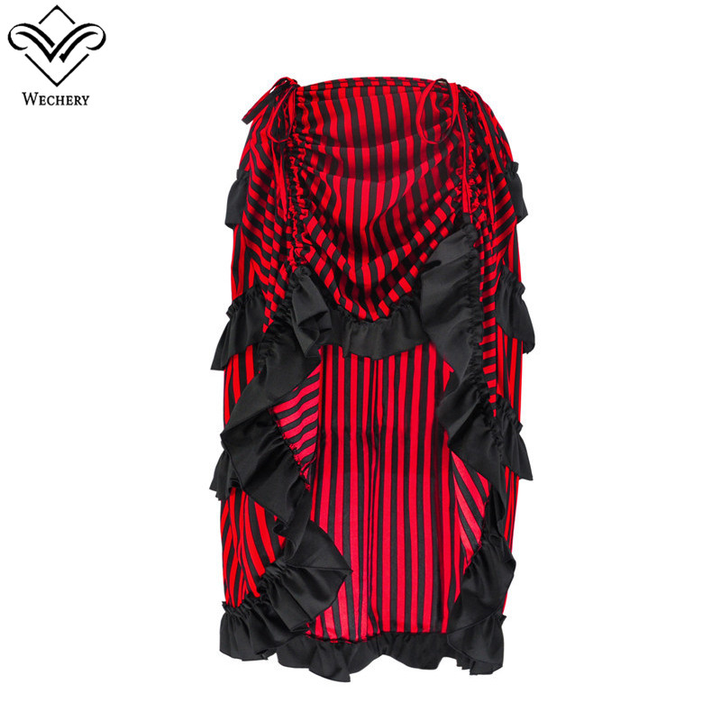 Wechery Retro Gothic Skirt for Women New Arrival Stripe Pattern Pleated Skirts High Low Cut Out Design Victorian Style Costume