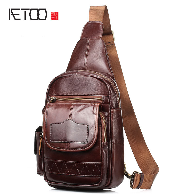 AETOO Breast chest bag men leather Messenger bag a generation of Korean version of shoulder bag