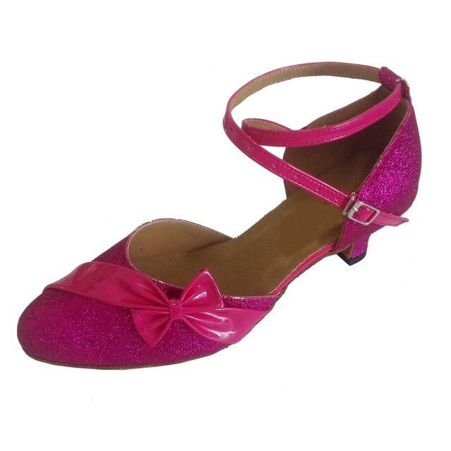 Elisha Dance Shoe Customized Heel Women s Hot Pink Closed Toe Ballroom Party  Modern Latin Salsa Dance Shoes with Bow 71d919edd9d3