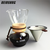 480CC Glass Coffee Drip Pot and Reusable Stainless Steel Filter Sets Espresso Water Drip Coffee Maker Coffee Tea Filter Tools