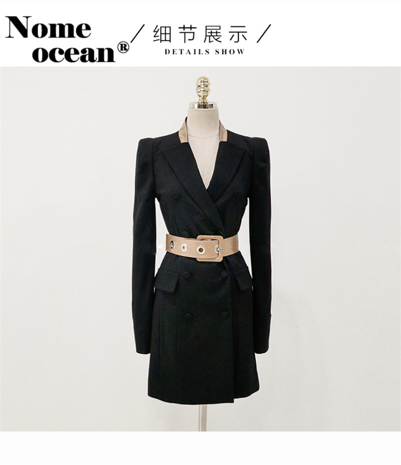 6f56f2463639 Double Breasted Suit Dresses Belted Waist Color Block Cuffs Blazer Dresses  for Women 2018 Autumn Office Lady Dress M18100901-in Dresses from Women's  ...