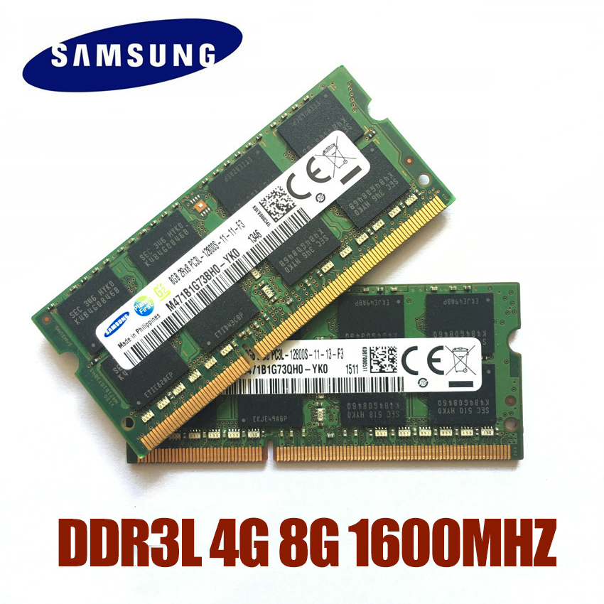 Samsung ram PC3L-12800S/10600 s ddr3l 1600 mhz 1333 mhz 4 gb 8 gb portátil memória notebook módulo sodimm ddr3 ram