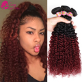 Brazilian Kinky Curly Virgin Hair Black And Burgundy Sassy Girl Hair Brazilian Hair 2 Tone Cheap Curly Virgin Hair Bundle Deals