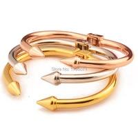 ローズ/ゴールドカラーステンレス鋼オープニングリベットブレスレット腕輪