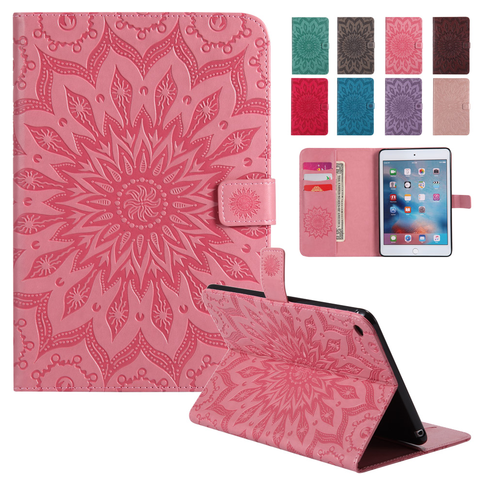 BINUODA For Fundas iPad Mini 4 Case Premium 3D Emboss Sunflower Flip Wallet Case Cover for Apple iPad Mini 4 Auto Sleep Wake up