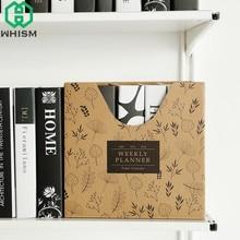 WHISM Kraft Paper Desk Organizer DIY Desktop Storage Box for Files Books Stationery Pen Pencil Holder Makeup File