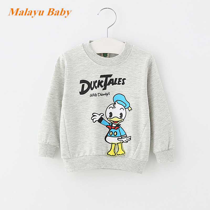 Malayu Baby 2017 Autumn Infant Cotton Cartoon Sweater, Baby Boy Girl Donald Duck Mimi Print Long Sleeve Fashion 0-2 years baby