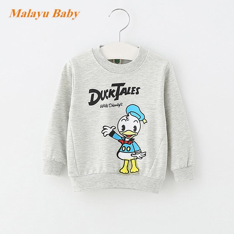 Malayu Baby 2017 Autumn Infant Cotton Cartoon Sweater, Baby Boy Girl Donald Duck Mimi Print Long Sleeve Fashion 0-2 years baby