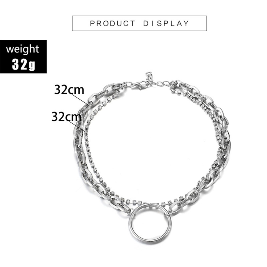 2019 Gothic Chain Choker Necklace Rock Statement Multilayer Geometric Metal Circle Pendant Crystal Chain Necklace Punk Jewelry