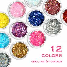 hot deal buy 12 colors mixes glitters and hexagon nail sequins 10ml/bottle nail glitter mixed nail art sequins manicure nail art dust l40cn