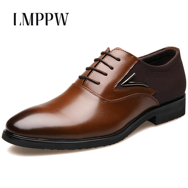 Brand Design Pointed Toe Men Dress Shoes Black Brown Oxfords Luxury Flats Genuine Leather Oxford Italian