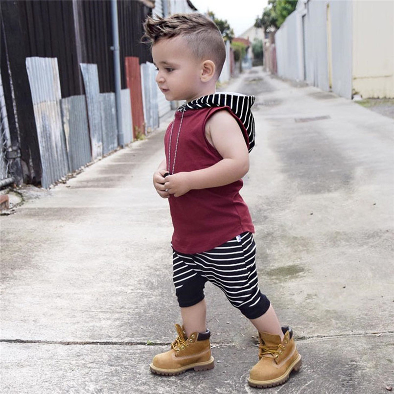 The new fashion cute design Toddler Kids Baby Boy Hooded Vest Tops+Shorts Pants 2pcs Outfits Clothes Set #4A08 (17)