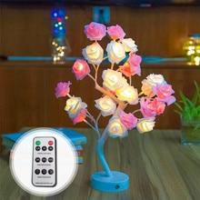 Светодиодный светильник в форме цветка розы в форме дерева с usb-портом и питанием от батареи, декоративный, настольный, светодиодный, для вечеринок, Рождества, свадьбы