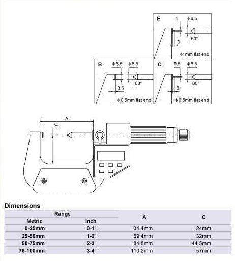 Digital Single Point Micrometers.0-25mmElectronic blade micrometer. Type B  цены