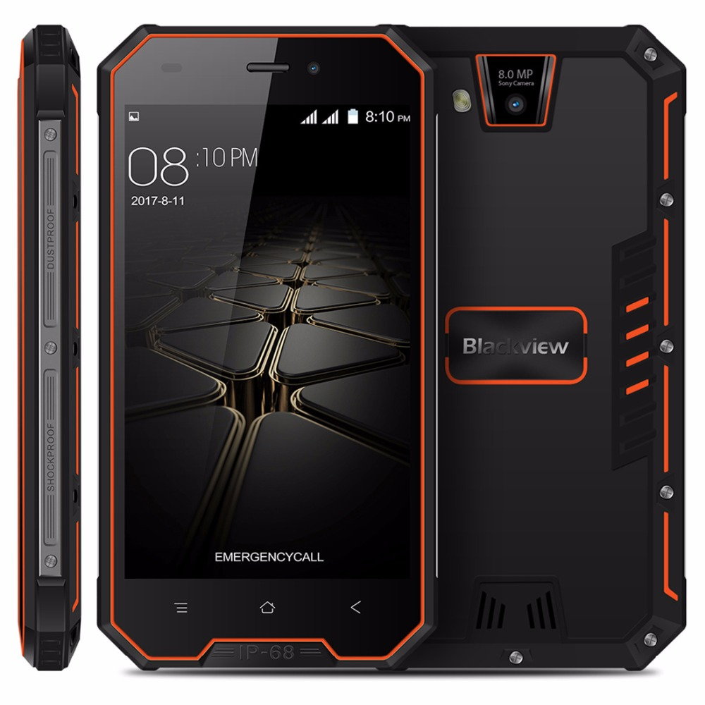 Blackview BV4000 Pro IP68 Waterproof Smartphone 4.7 HD MTK6580A Quad Core Android 7.0 2GB+16GB 8.0MP Camera 3G Mobile Phone