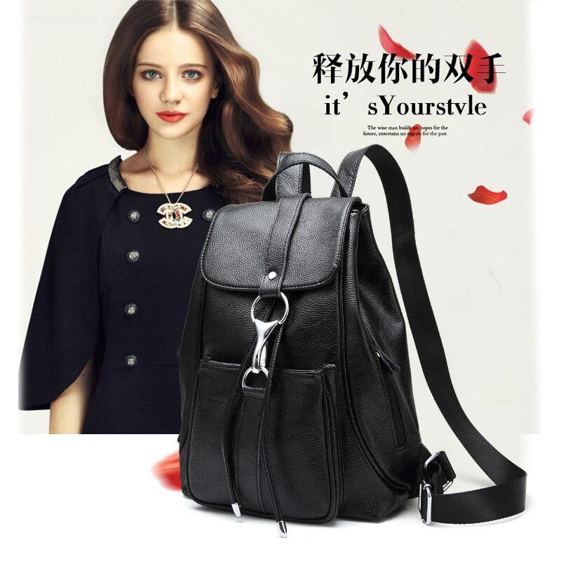 Black Backpack Women Genuine Leather Backpack School Bags Lady Fashion Travel Shoulder Bag Designer backpacks for teenage girls