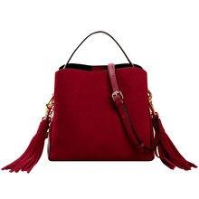 3fe660676793 2018 зима Ретро стиль замша кожа женская сумка-мешок натуральная кожа сумка  с кисточкой сумка