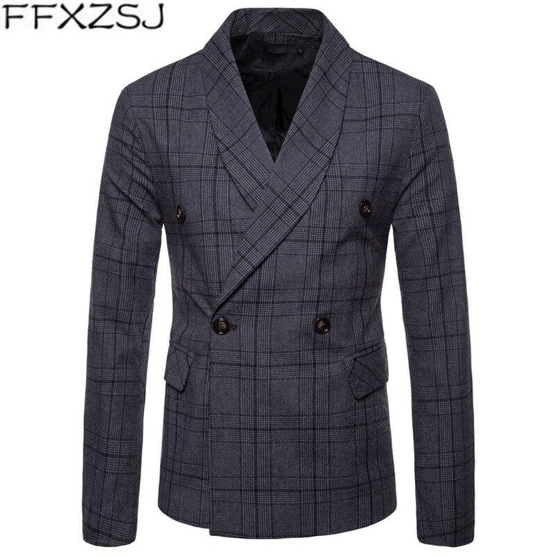 FFXZSJ New Arrival Business Mens Blazer Casual Blazers Men Lattice Formal Jacket Popular Design Men Dress Suit Jackets