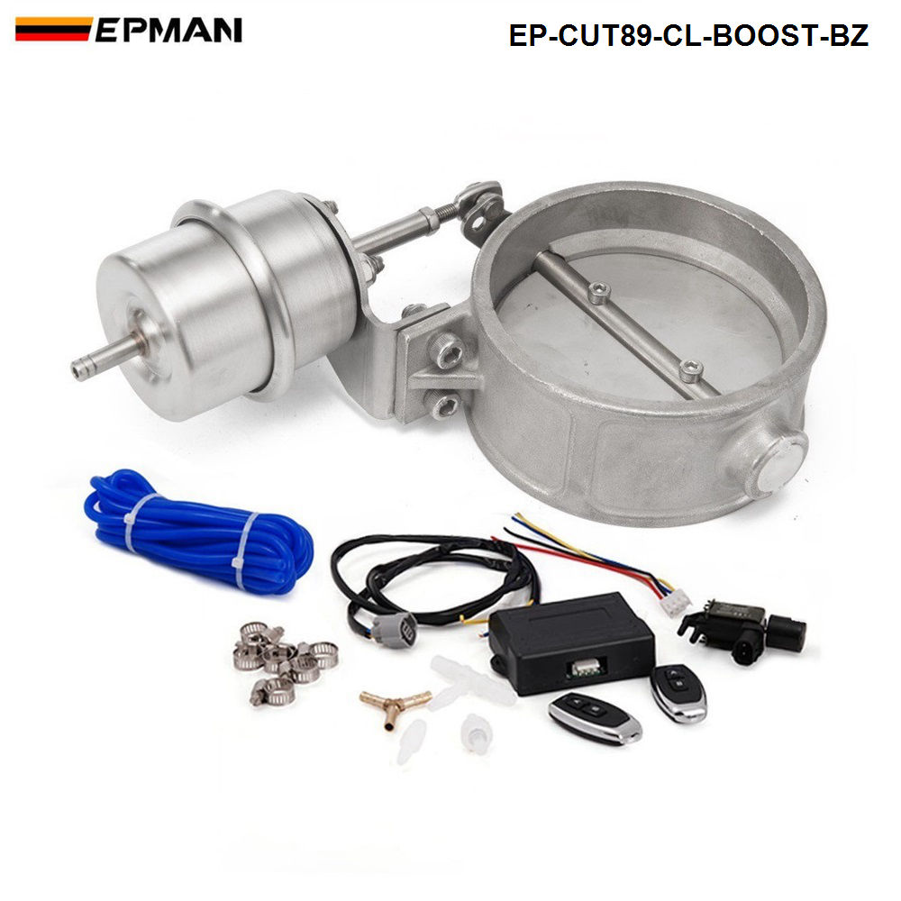 цена на EPMAM- Exhaust Control Valve With Boost Actuator Cutout 89mm Pipe Close with Wireless Remote Controller Set EP-CUT89-CL-BOOST-BZ