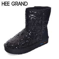 HEE GRAND Bling Snow Boots Fashion Cow Split Sequins Female Ankle Boots Thick Bottom Flat With