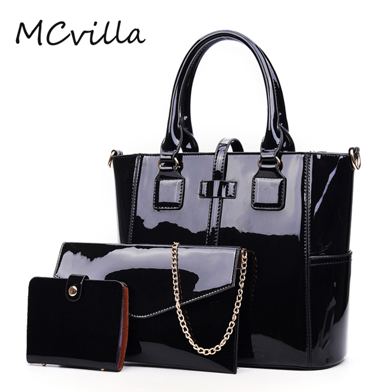 3pcs/Set Women Handbags Patent Leather Shoulder Bags Casual Tote Bag Metal Handle Designer Female Composite Messenger Bag Purse 2pcs set vintage handbags women messenger bag female purse solid shoulder office lady casual tote genuine leather top handle bag