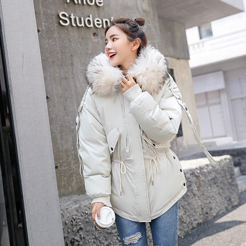 snow wear 2018 fashion large fur collar short down jacket women thickening warm winter coat women plus size loose outwear female