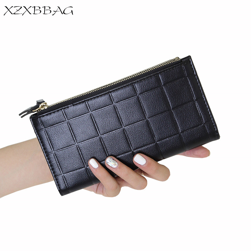 XZXBBAG Women Fashion Plaid Double Zipper Wallet Lady Big Capacity Multifunction Long Purse Female Folding Money Clips Clutch fashion girl change clasp purse money coin purse portable multifunction long female clutch travel wallet portefeuille femme cuir