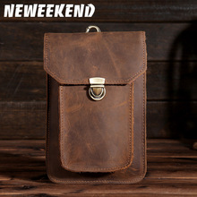 2017 New Mens Vintage Crazy Horse Genuine Leather Waist Bag Phone Pouch Pocket Travel Fanny Pack Belt Loops Hip Bum Bags B2091