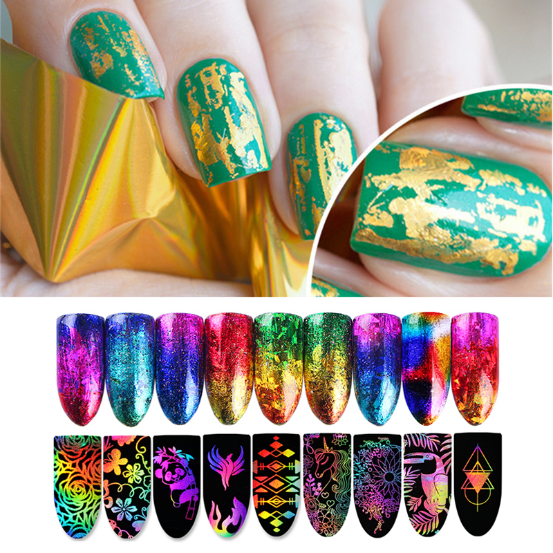 Laser Holographic Starry Nail Foil Paper Gold Silver Manicure Nail Art Sticker 4*10cm Nail Decorations Accessories