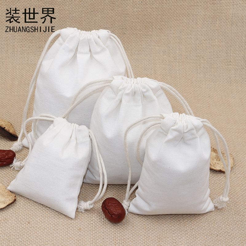 5pcs/lot 10*14.5cm Canvas Bag Pouch Wholesale Logo Print Drawstring White Gift Bags Candies Food Cookie Packaging Bags