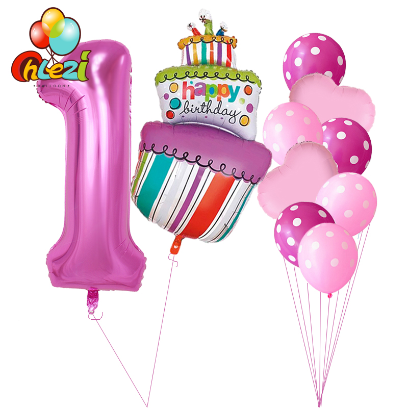 10 Pcs Baby Shower 1st 2 3 4 5 Birthday Party Decor 40inch Number Foil Balloons Supplies Boy Girl Balls Latex Helium Globos
