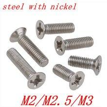 500 шт. винт с плоской головкой M2 m2.5 M3 DIN965 сталь с никелем phillips плоская головная машина винт