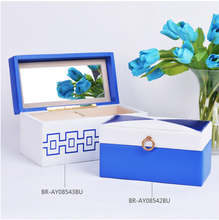 2016 Hot Selling High Quality Modern Blue Leather Jewelry Storage Box  Unique Design Storage Box For