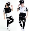 Teenage Girls Clothing Sets Cotton Letter Hip Pop Boys Outfits 3Pcs Summer Girl Sports Suits Boys Dance Wear Performance Clothes