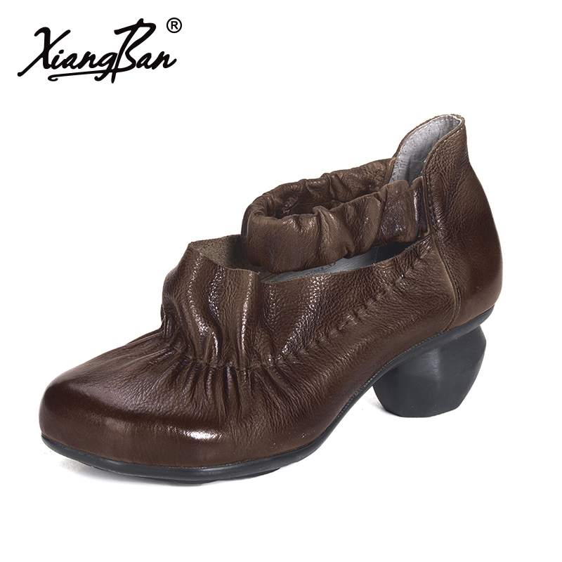 Xiangban leather shoes women high heel pumps shallow spring thick heel female shoes Mary Jane new spring fashion brand genuine leather sweet classic high heels women pumps shallow thick heel mary janes lady causal shoes