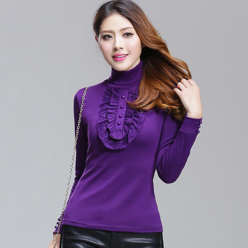 vinter höghalsad långärmad tröja Spets Vikta bröst bladverk - Damkläder