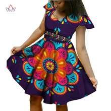 BRW – robe africaine en Bazin Riche, avec écharpe, manches courtes, vêtements pour femmes, Dashiki, imprimé Wax, 6XL, WY924