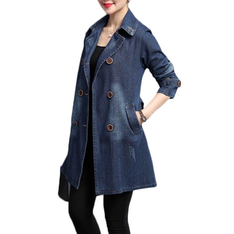 Printemps Automne Mi Taille Denim Jean Manteaux Vestes longueur Femmes Corée Survêtement Cowboy Lâche Plus B914 Photo La Casual Color Vêtement 5xl xqApqI