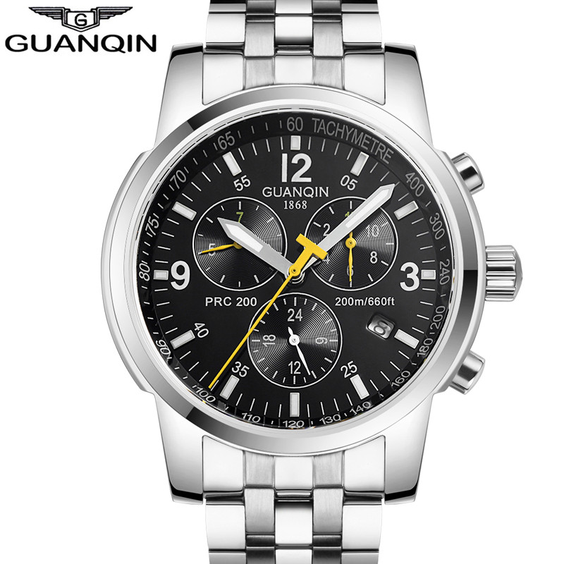 relogio masculino GUANQIN Automatic Self-Wind Luxury Men Sport Watch Mens 24 Hour Date Luminous Waterproof Full Steel Wristwatch mens watches top brand luxury guanqin watch men automatic self wind luminous clock sport full steel wristwatch relogio masculino