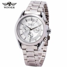 WINNER Men Classic Mechanical Wristwatch Stainless steel Strap Round Dial High Quality Sub Dials 238