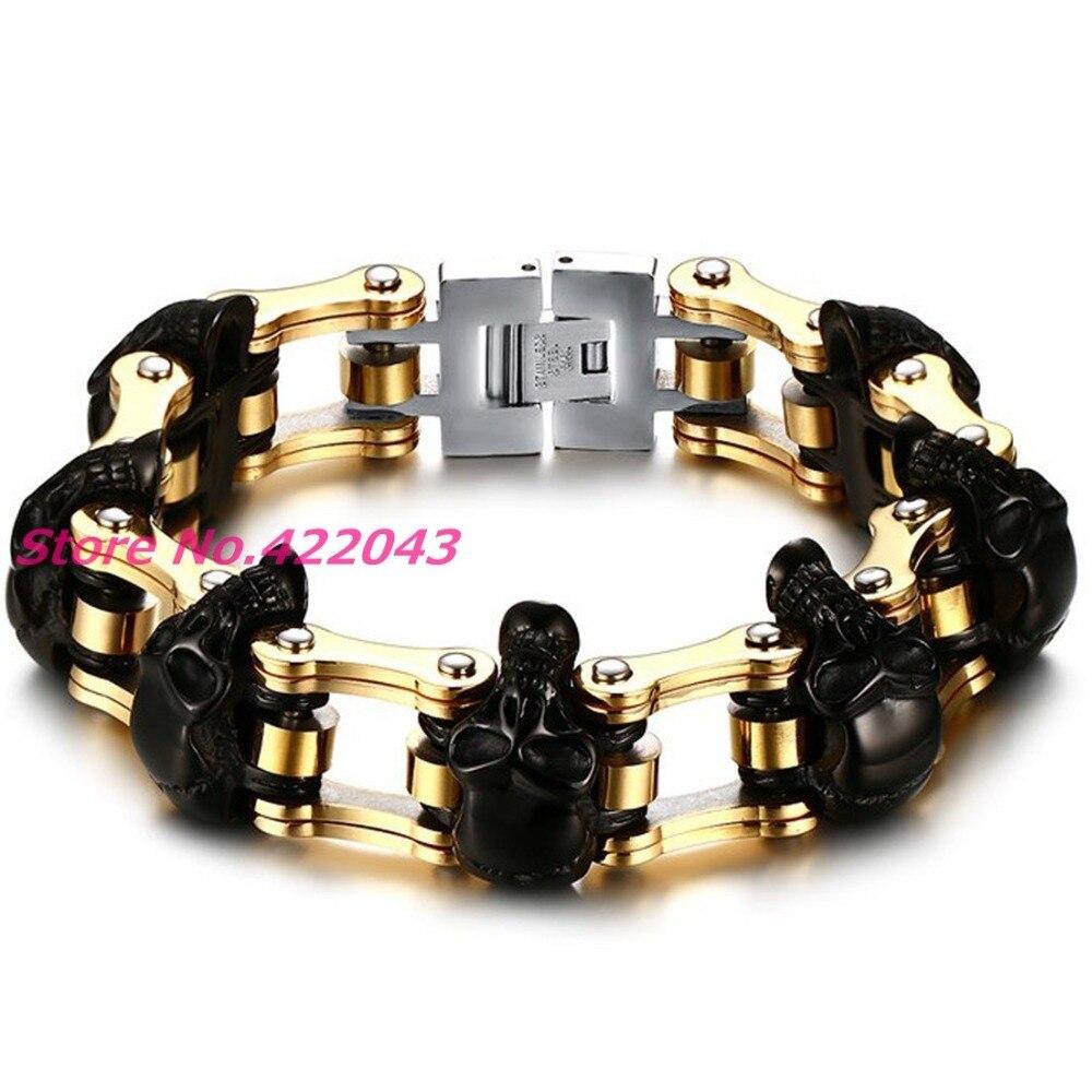 Haute Qualité! 16mm large Bracelet crâne en acier inoxydable 316L or noir hommes Bracelet motard moto main 9