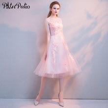 d0b01106c083 Elegante Rosa di Tulle Vestito Da Sera Sexy Trasparente di Applique Senza  Maniche A-Line Convenzionale Lungo Abiti Dolce Festa d.