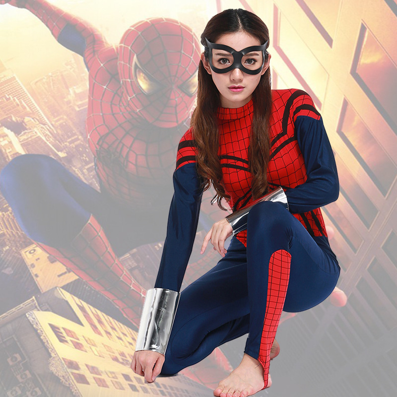 Adult  Super Hero Spiderman Jumpsuit Costume Cosplay For Woman or Man Halloween Masquerade Fancy Dresses Party Size S-XL