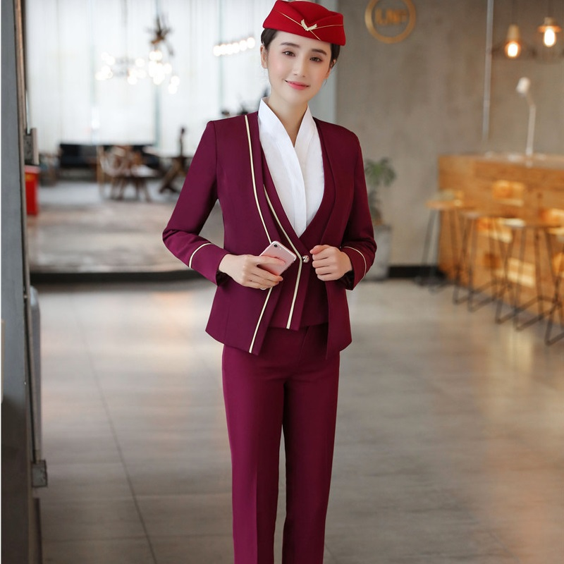 Uniform Designs Ladies Work Suits With 3 pieces Jackets + Pants + Vest & Waistcoat For Women Female Pants Suits Plus Size