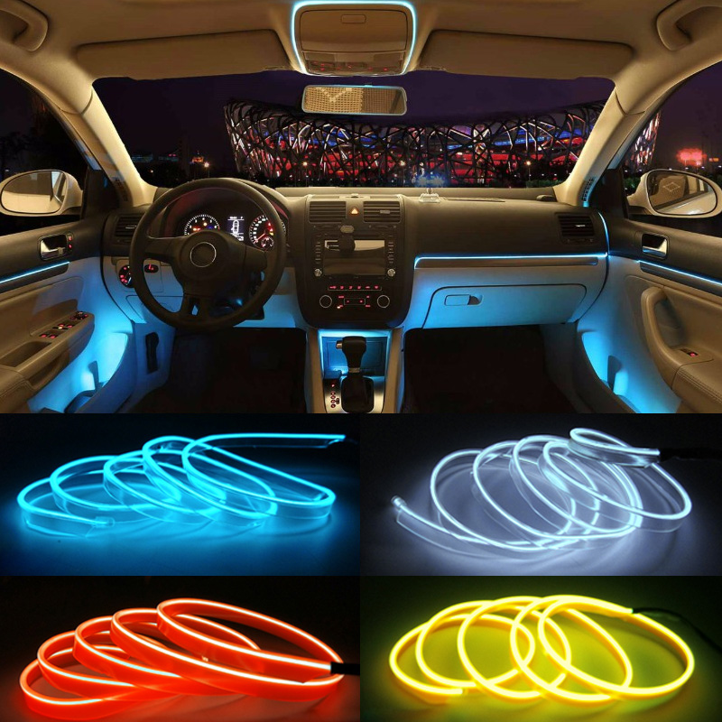 DIY Decoration Neon Light 12V 5 Meters Auto Car Interior LED Flexible EL Cold Wire Rope Tube Line Dashboard Console Door