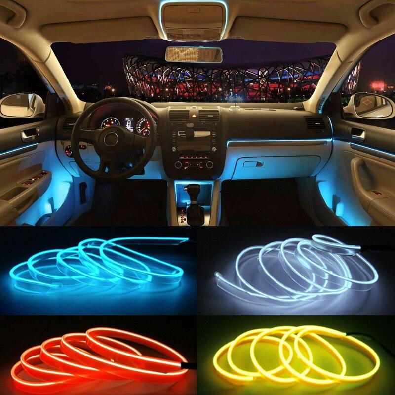 >DIY <font><b>Decoration</b></font> Neon Light 12V 5 Meters Auto Car Interior LED Flexible EL Cold Wire Rope Tube Line <font><b>Dashboard</b></font> Console <font><b>Door</b></font>