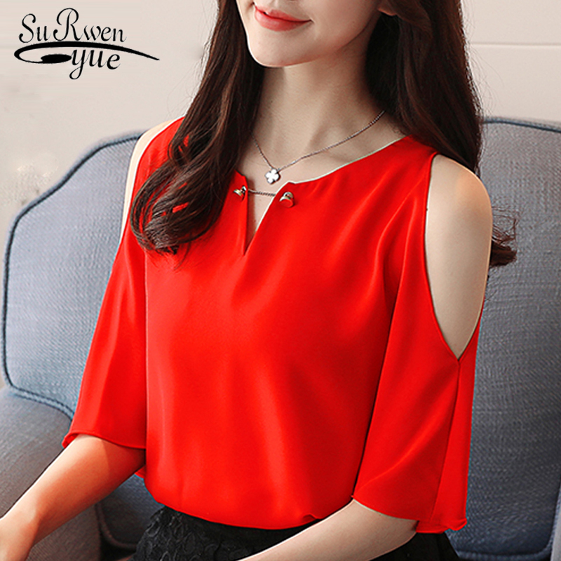 2018 fashion chiffon women blouse shirt new summer short sleeve V-neck womens tops blusas sweet sexy red women clothing D616 30