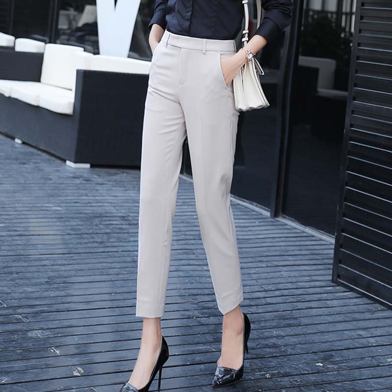 Image 2 - Women Slim Straight Suit Pants Female Summer Korean High Waist Pockets Trousers Women Causul Solid Loose AnkleLength Cargo Pants-in Pants & Capris from Women's Clothing